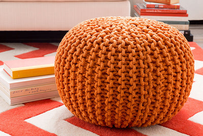 Malmo Solid Orange Sphere Pouf
