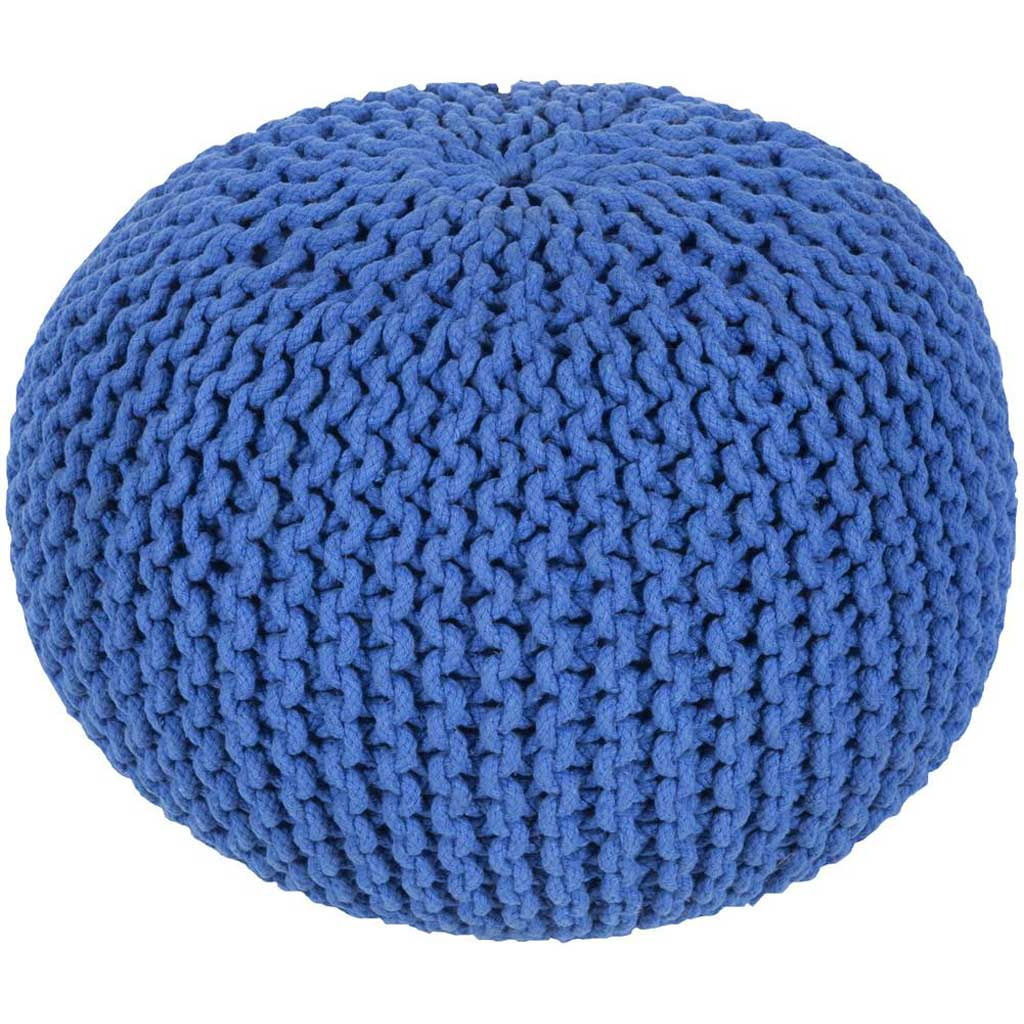 Malmo Solid Blue Sphere Pouf