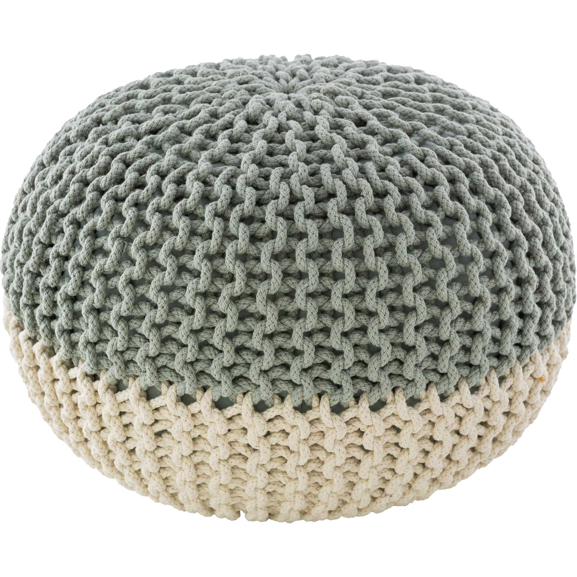 Maddie Pouf Mint/White