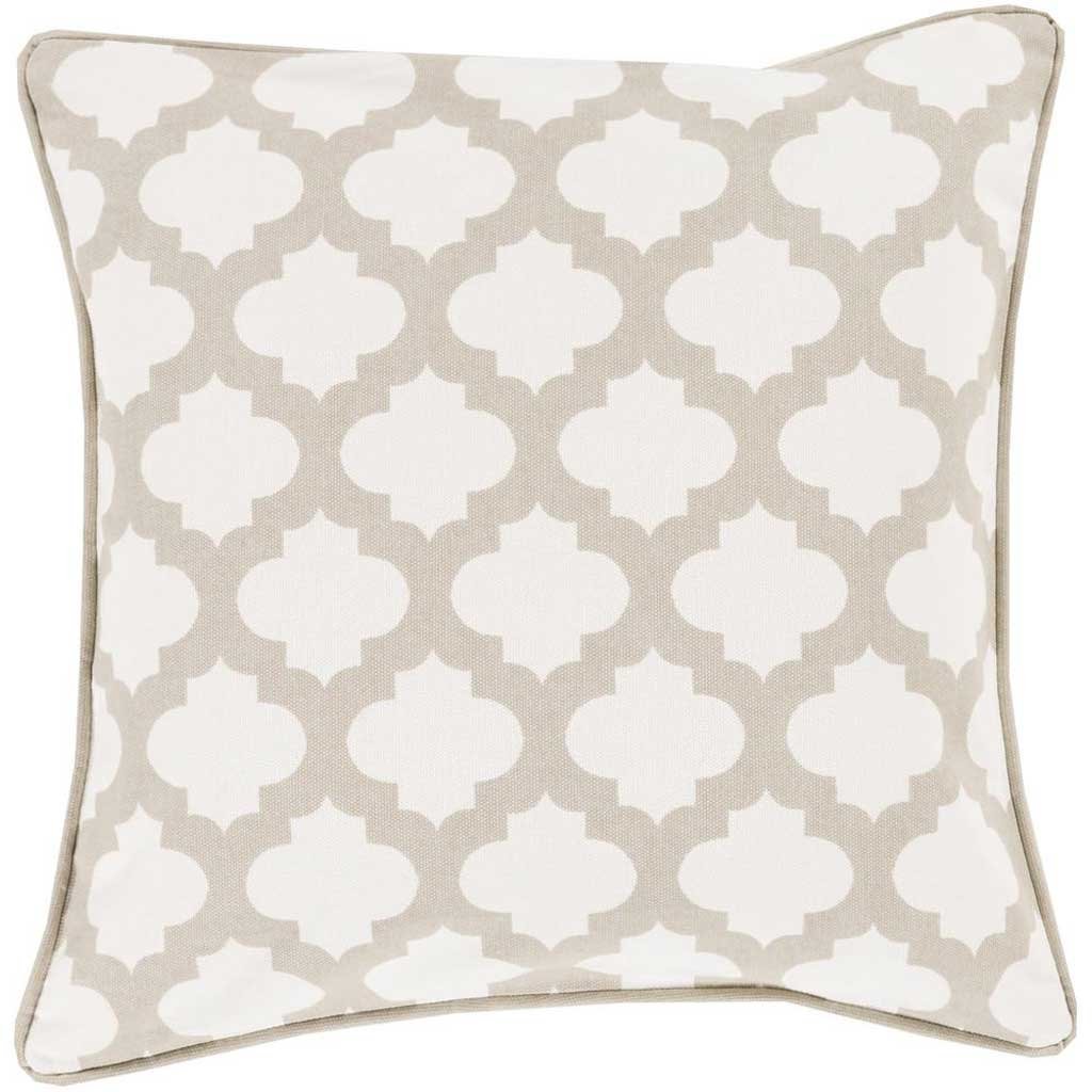 Moroccan Printed Lattice Ivory/Gray Pillow