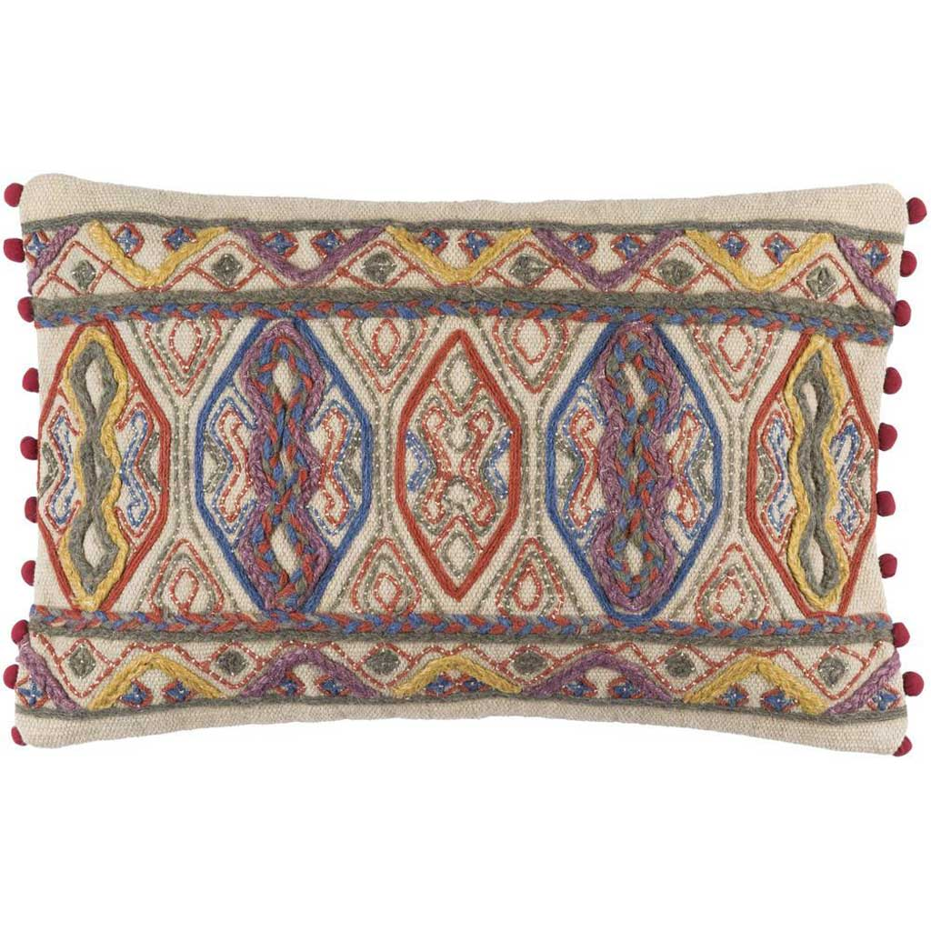 Marrakech Ivory/Aqua Lumbar Pillow