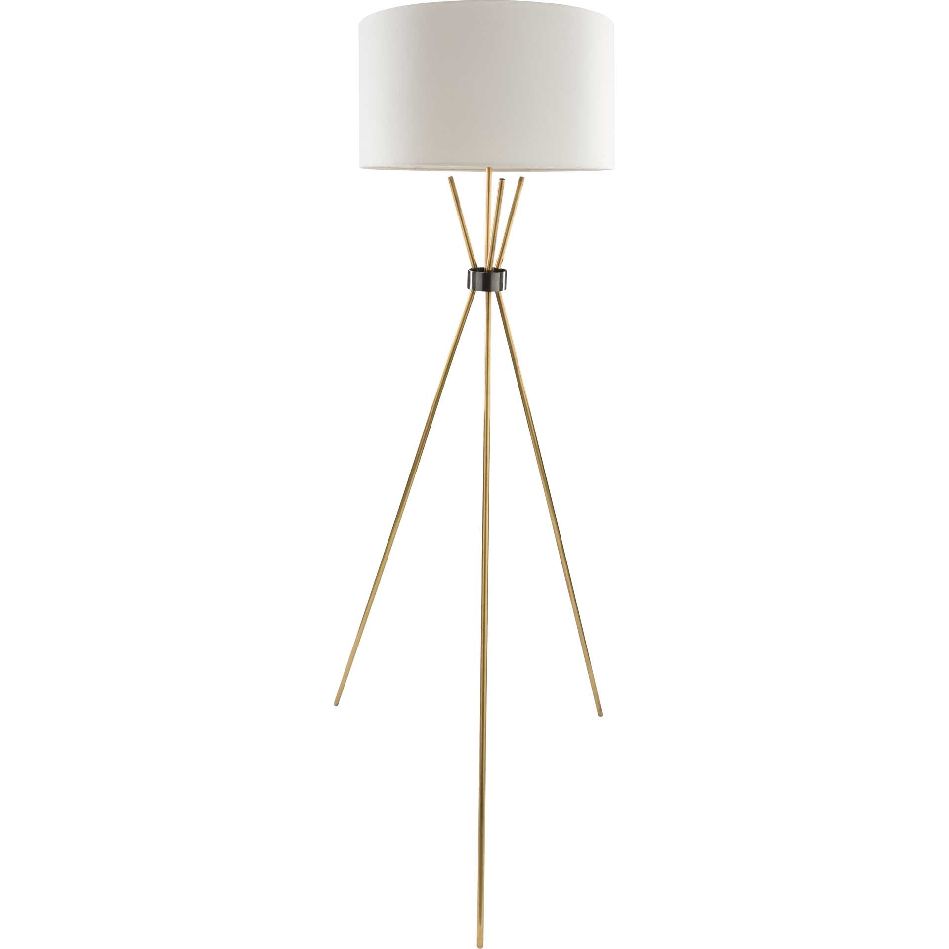 Nalani Floor Lamp White/Brass/Ivory