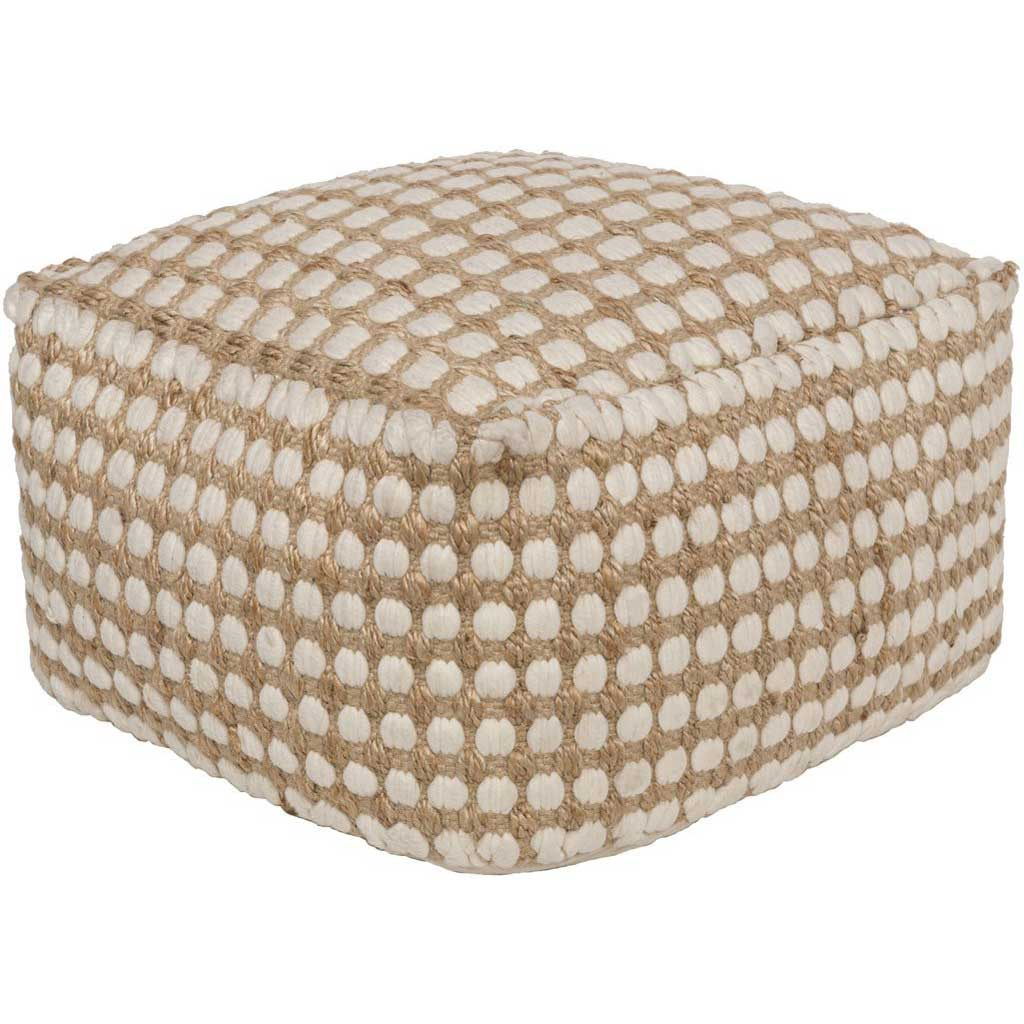 Oak Cove Cube White/Khaki Pouf