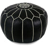 Black Moroccan Pouf White Stitching
