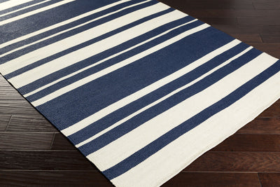 Picnic Striped Navy/Ivory Area Rug