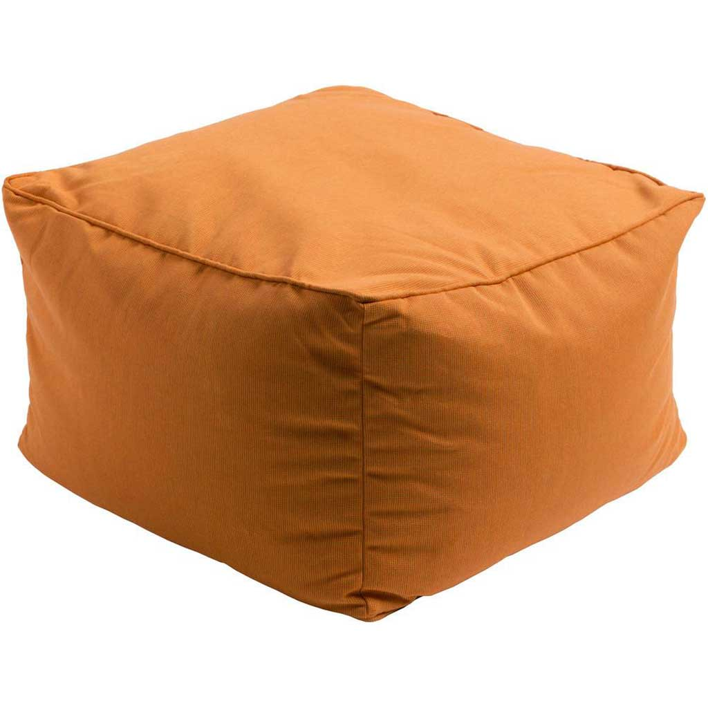 Piper Solid Orange Cube Pouf