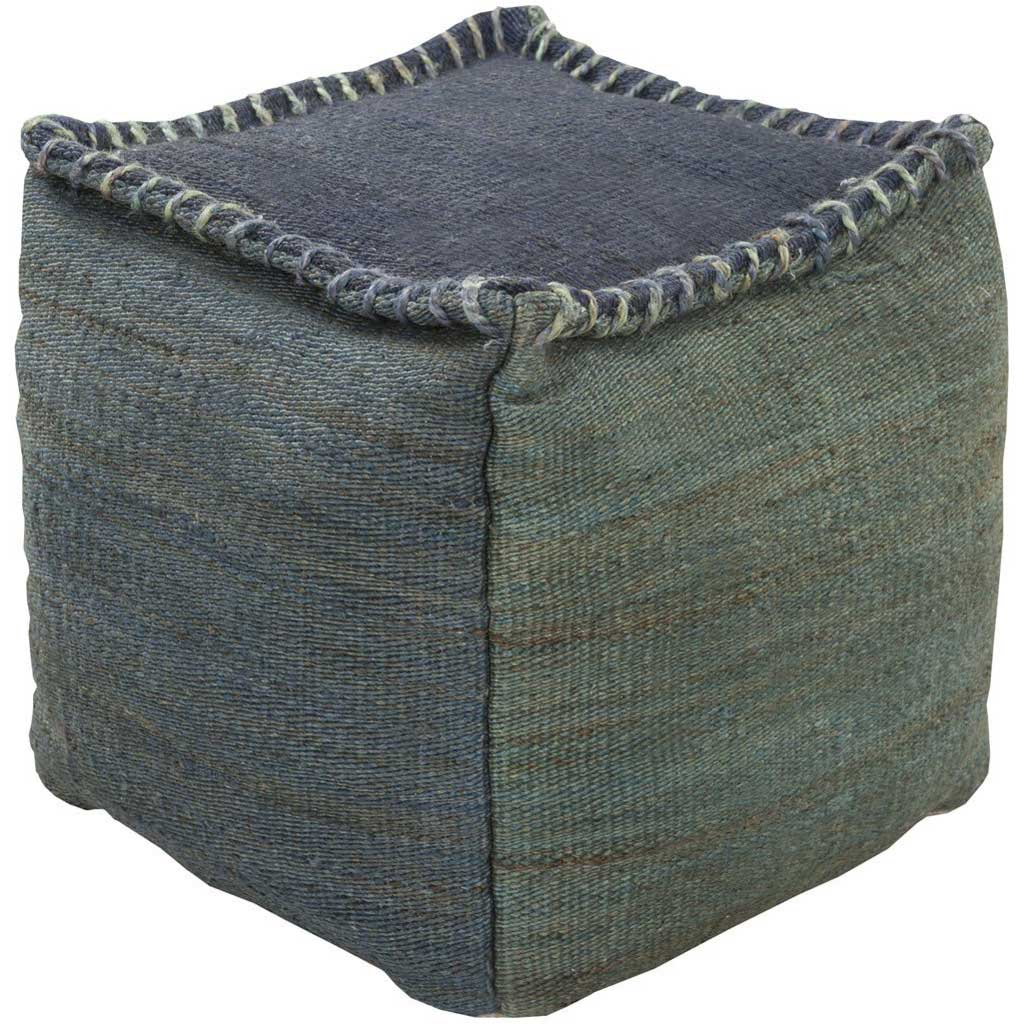 Standard Denim/Dark Green Pouf