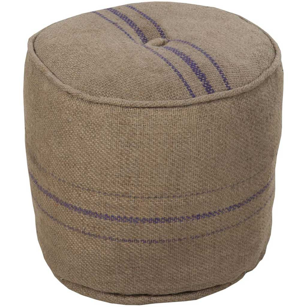 Standard Striped Neutral Cylinder Pouf