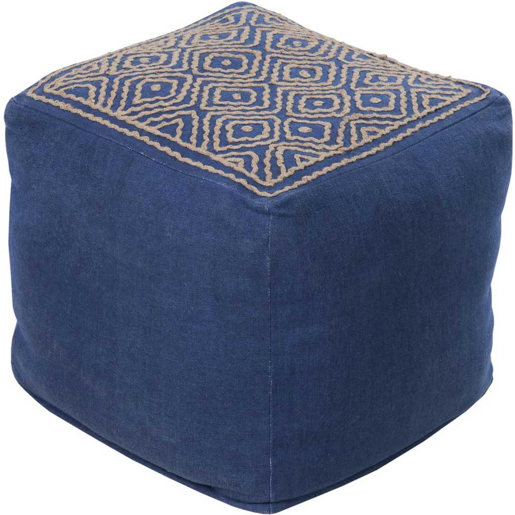 Standard Navy/Taupe Cube Pouf