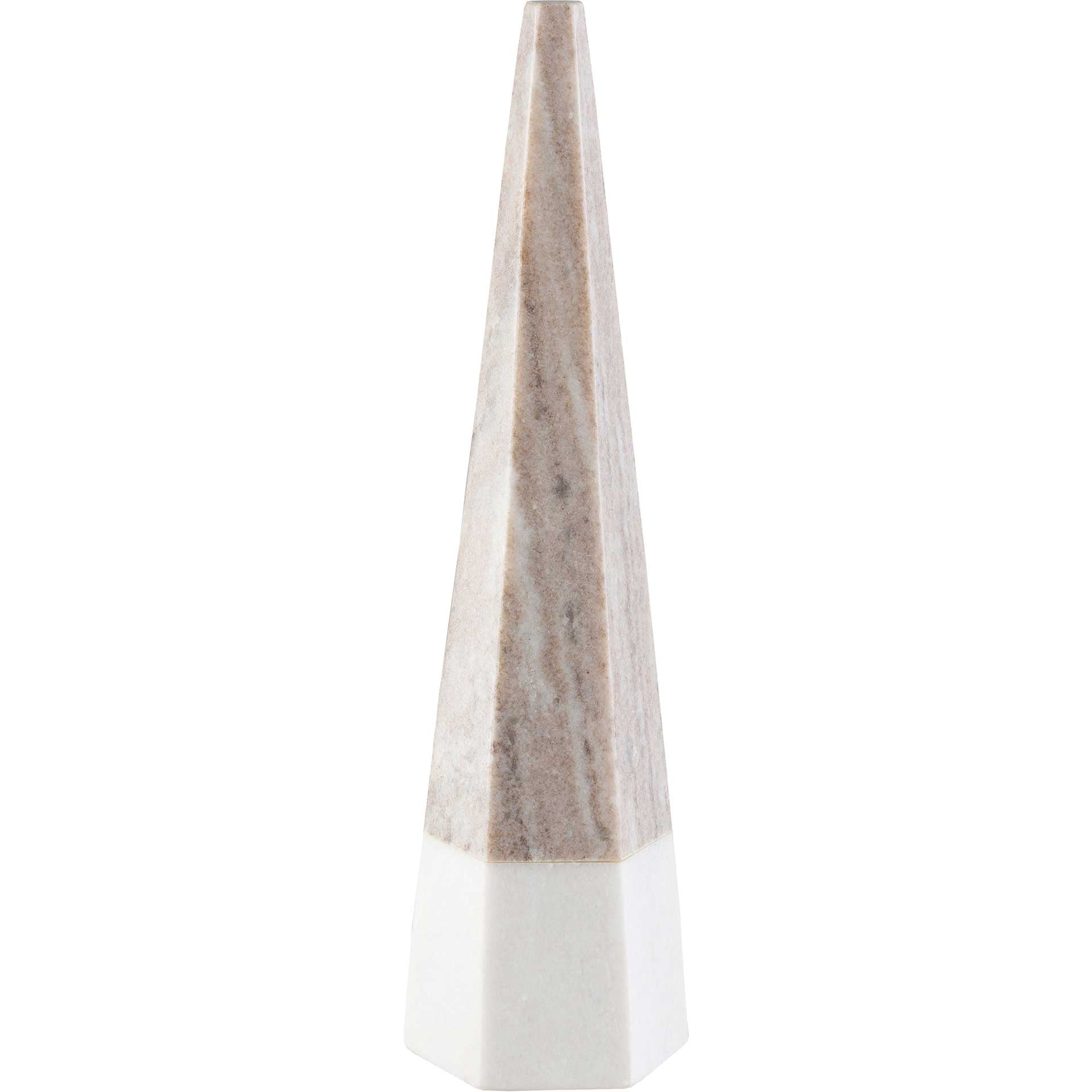 Pyramidal Decorative Accent White/Brown