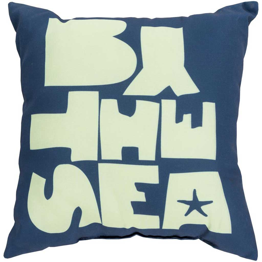 "Be ""By the Sea"" Cobalt/Mint Pillow"