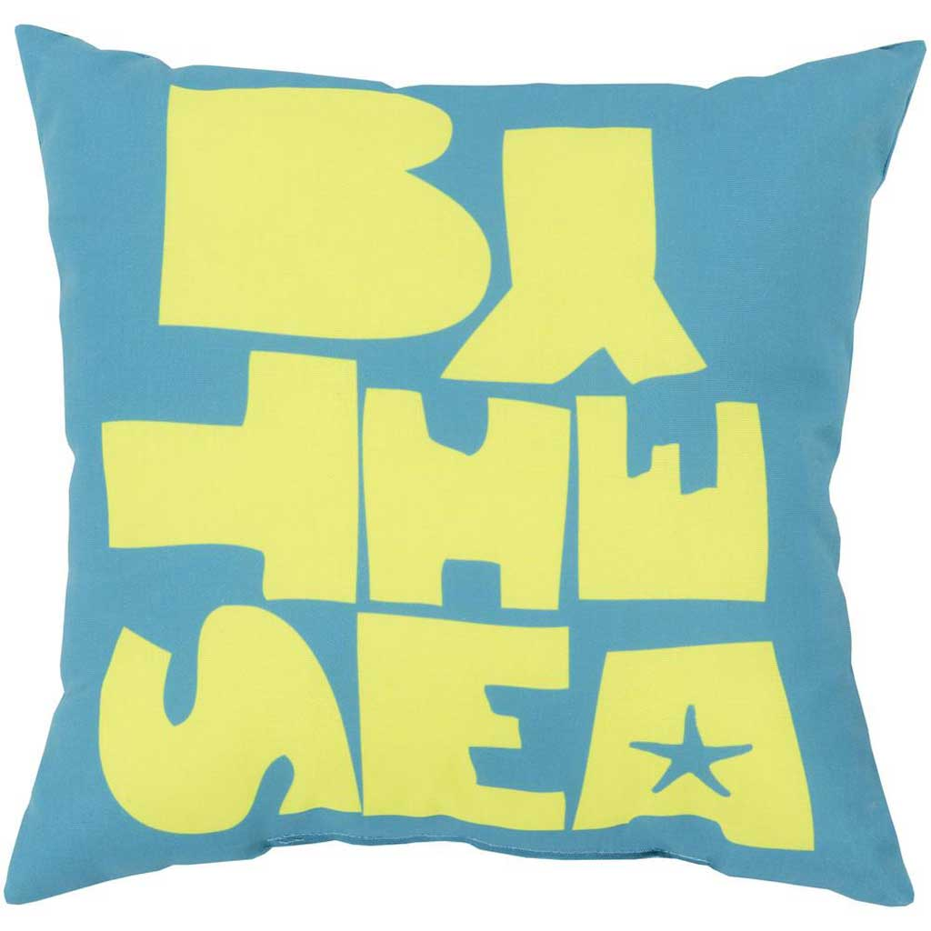 "Be ""By the Sea"" Aqua/Lime Pillow"