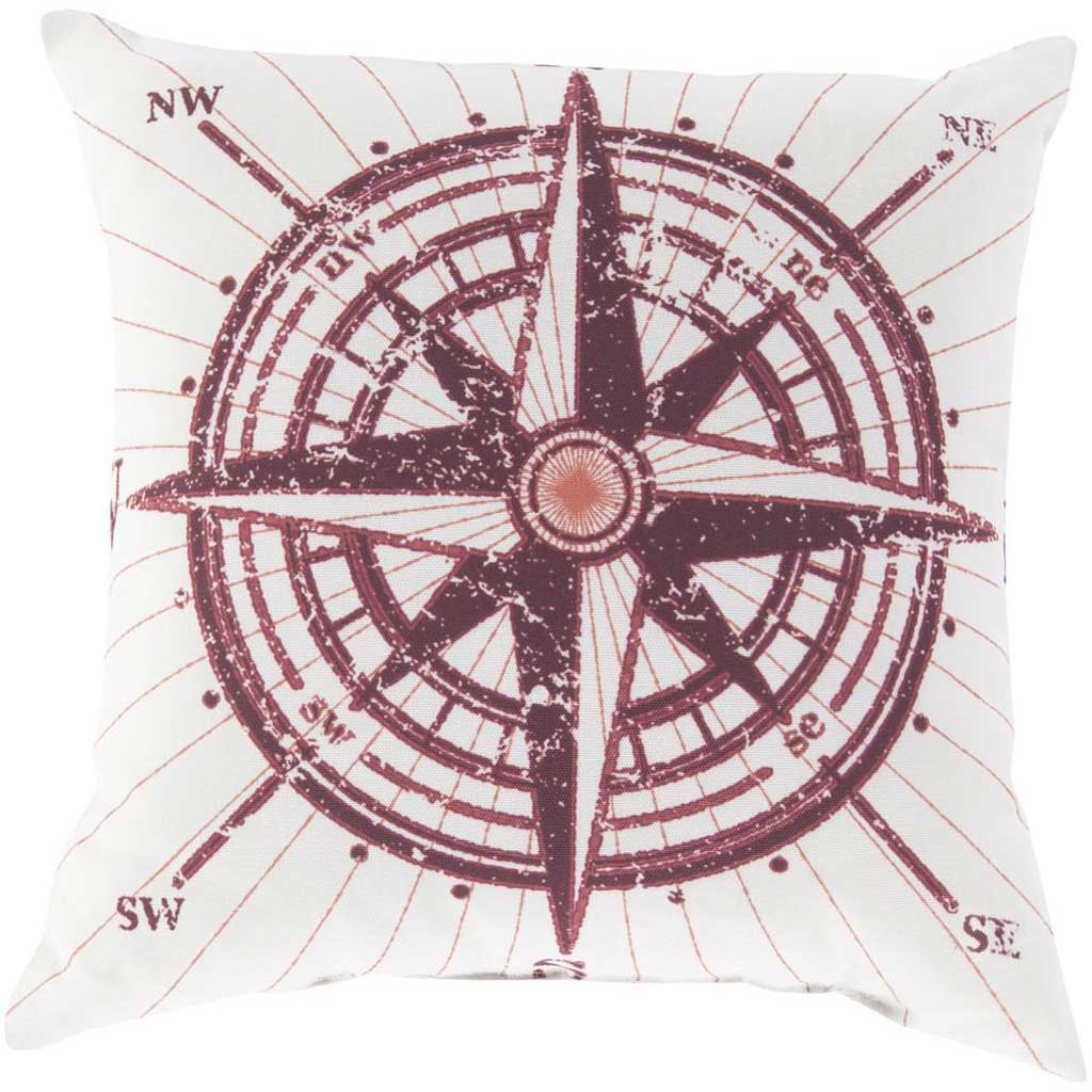 Charismatic Compass Poppy/Coral Pillow