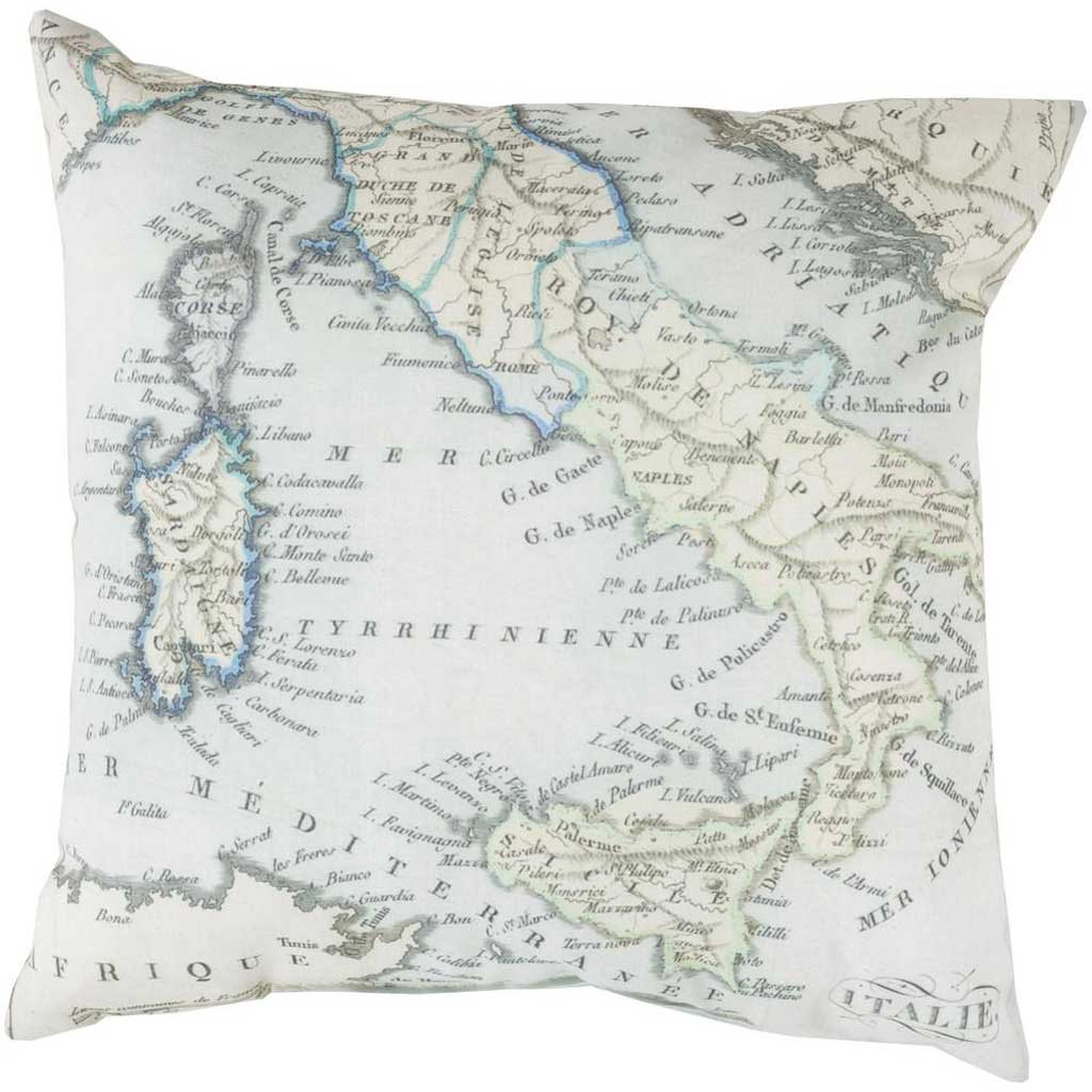 Mapped in Magnificence Sea Foam/Beige Pillow