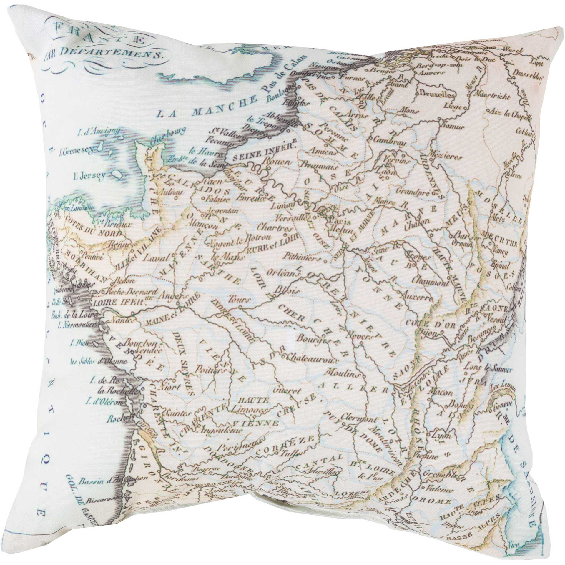 Mapped in Magnificence Sea Foam/Ivory Pillow
