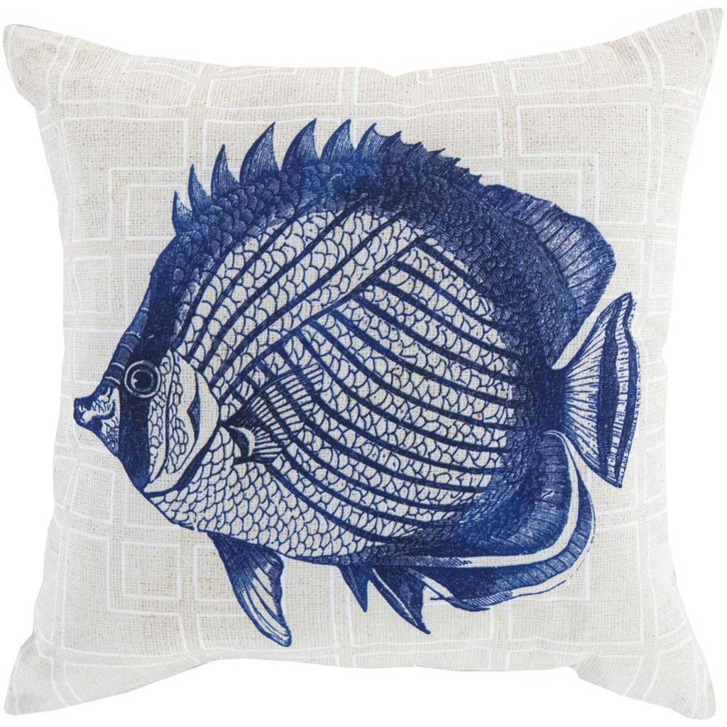 Swim in the Sea Cobalt/Beige Pillow