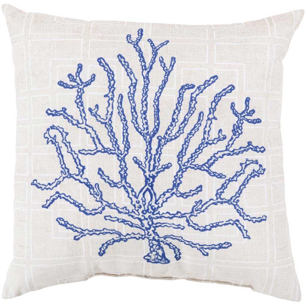 Coral of the Sea Cobalt/Beige Pillow