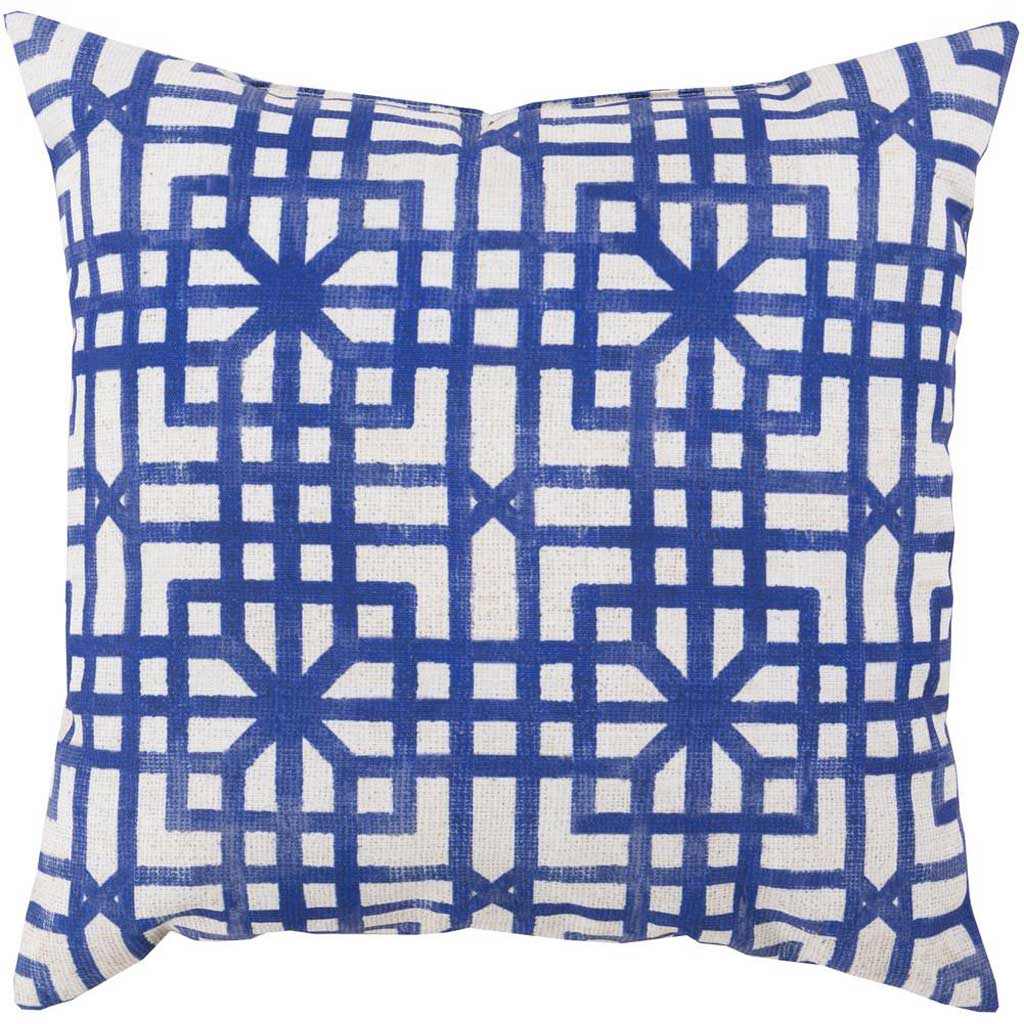 Lattice Marine Outdoor Iris/Light Gray Pillow