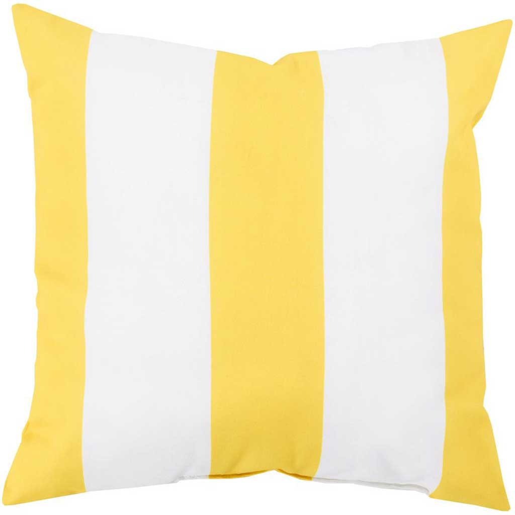 Awning Stripe Lemon Outdoor Sunflower/Ivory Pillow