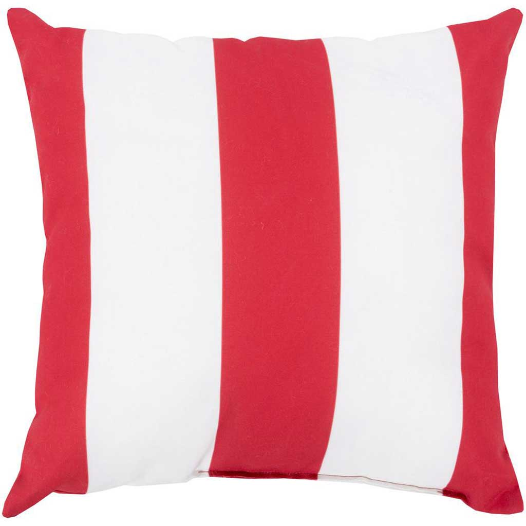 Awning Stripe Crimson Outdoor Poppy/Ivory Pillow