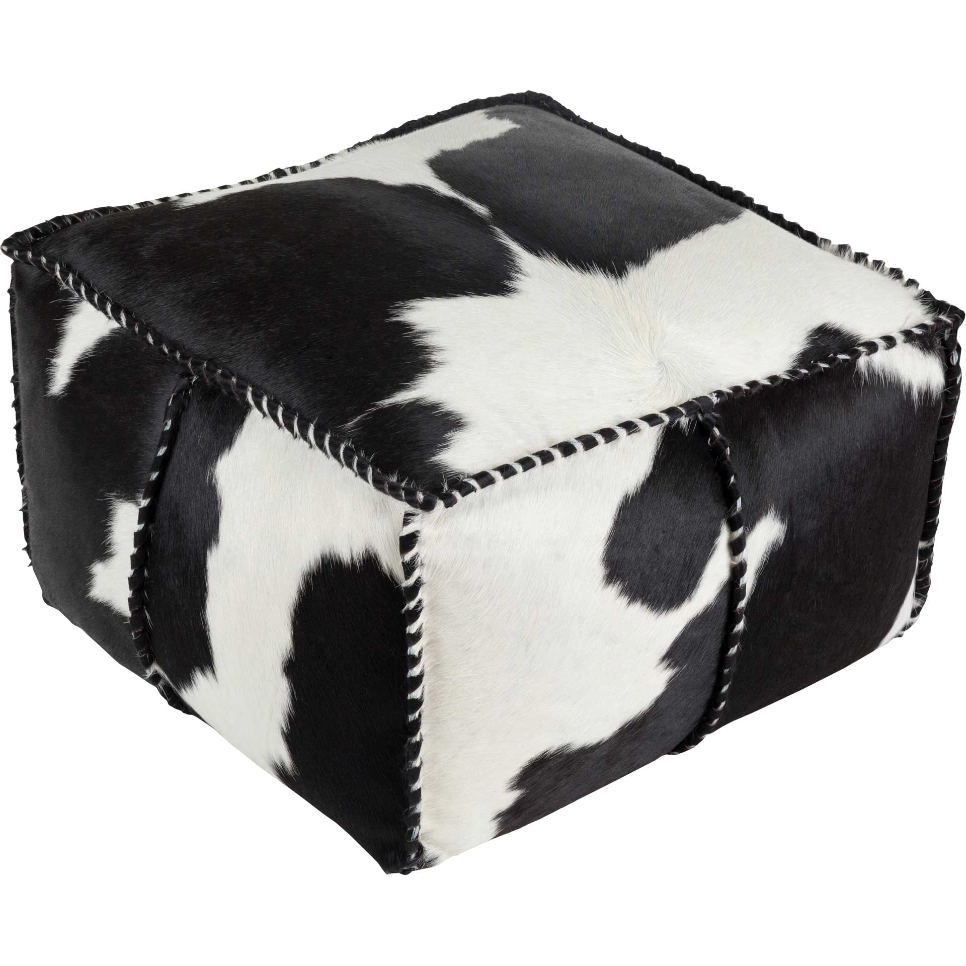 Raelyn Pouf White/Black
