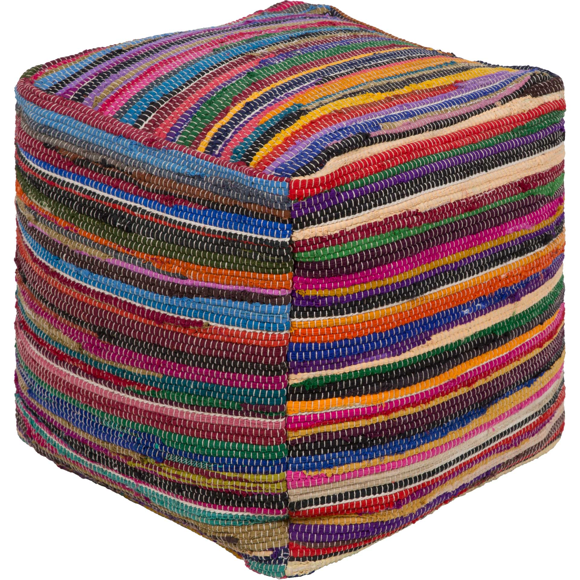 Reece Pouf Olive/Violet/Bright Red