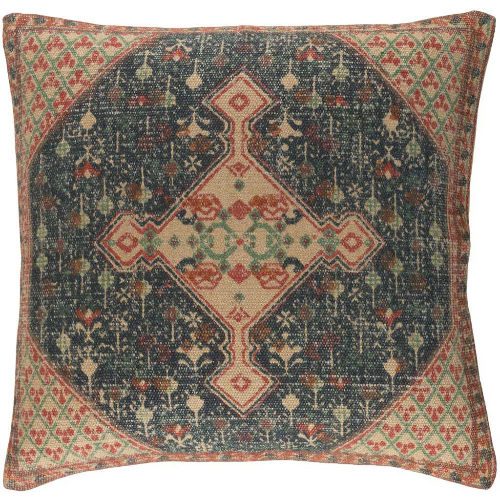 Shadi Khaki/Dark Blue/Bright Orange Pillow