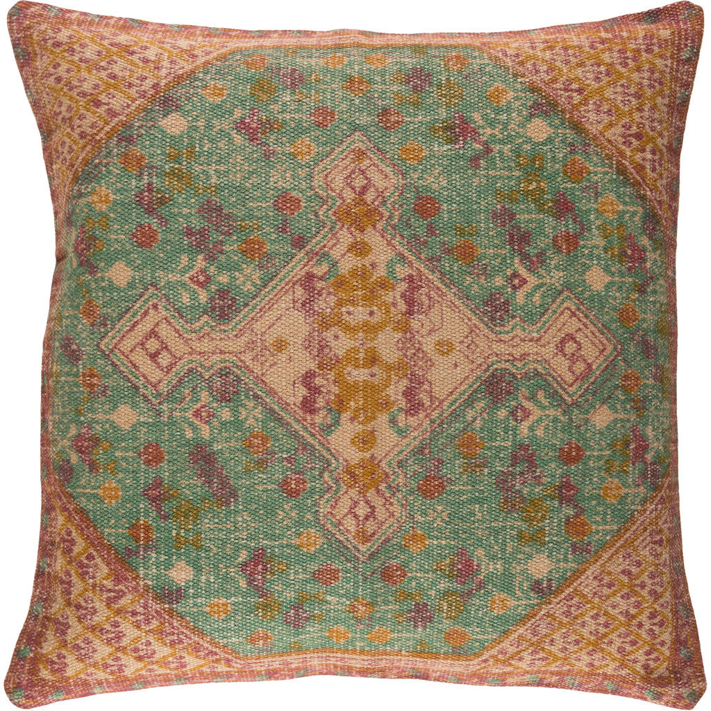 Shadi Khaki/Teal/Rose Pillow