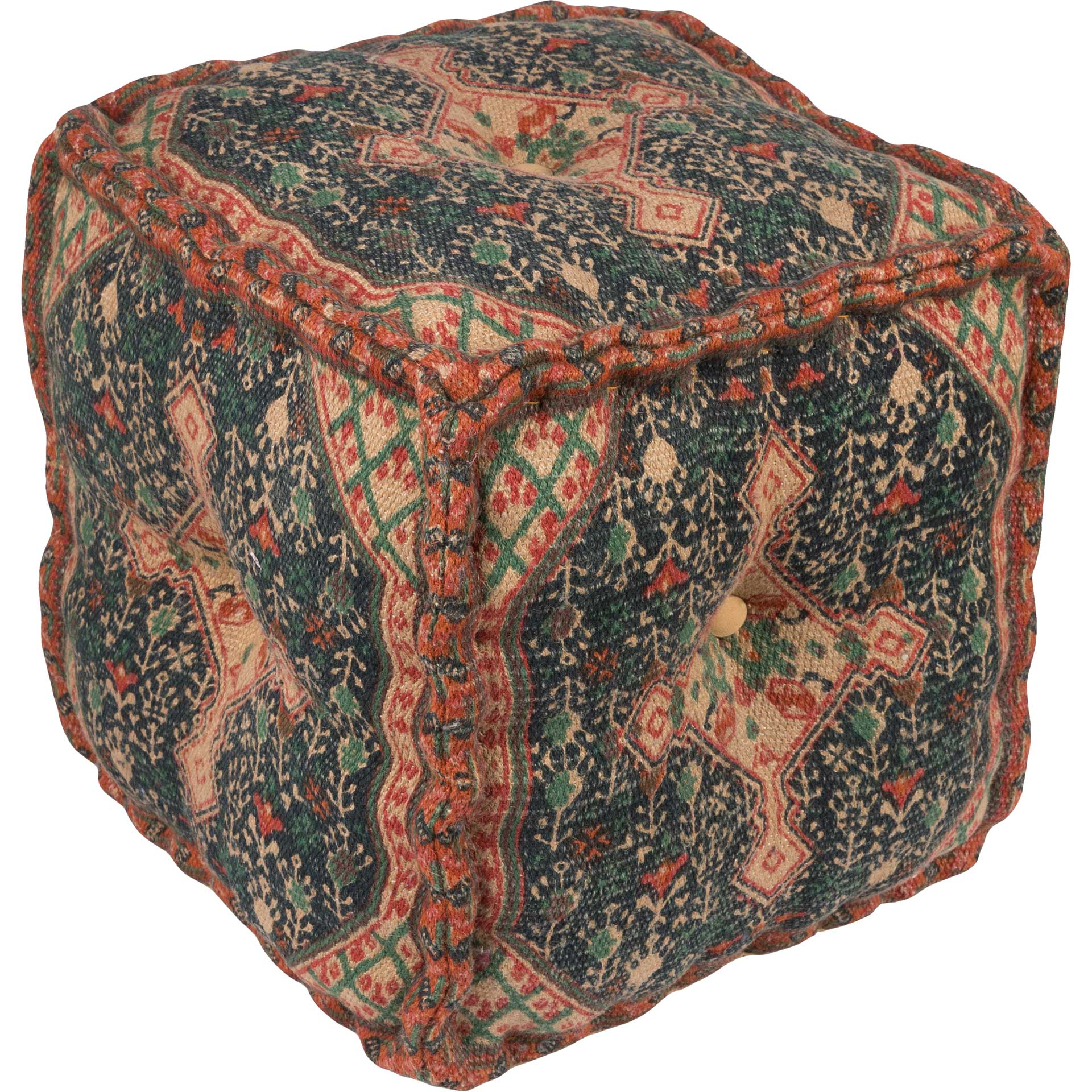 Shaikha Pouf Khaki/Dark Blue/Bright Orange
