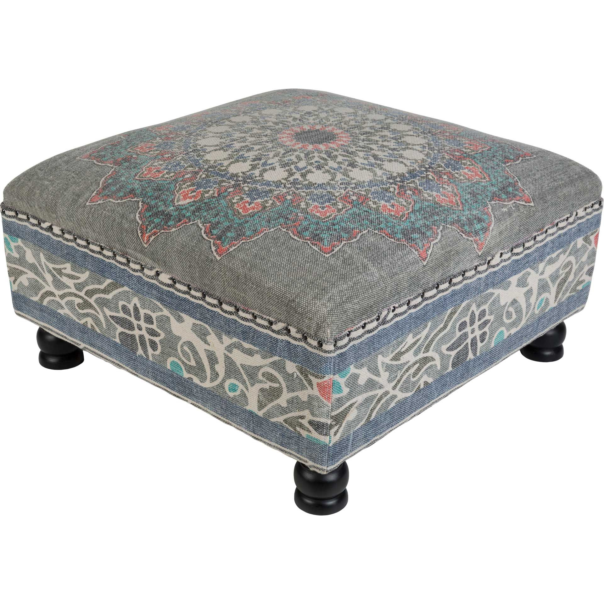 Sumatra Ottoman Medium Gray/Navy/Bright Red