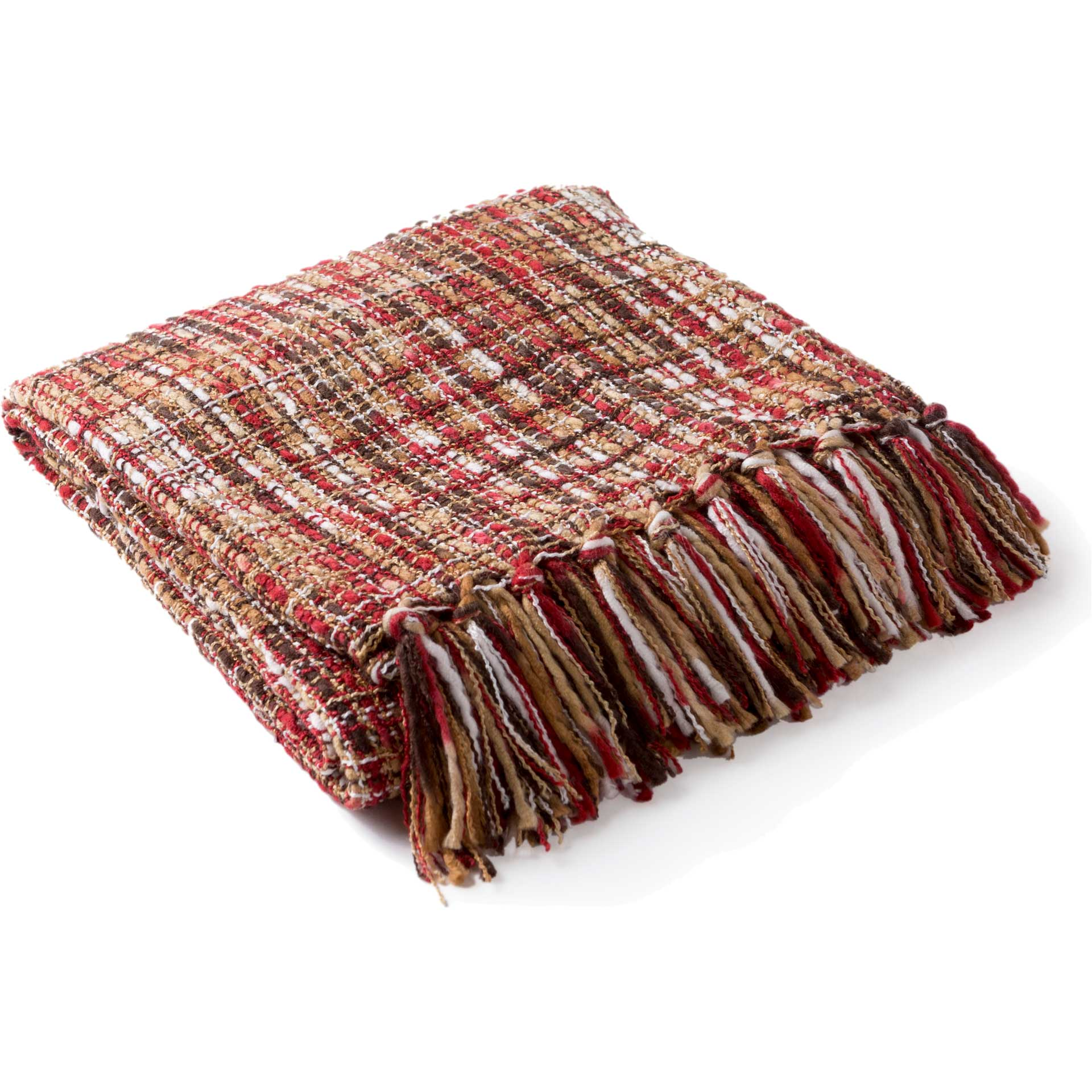 Tajhari Throw Bright Red/Tan/White