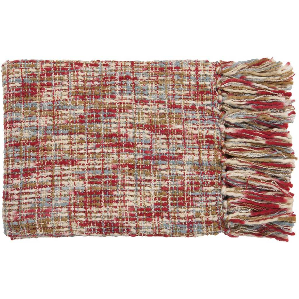 Tabitha Textural Blue/Neutral/Red Throw