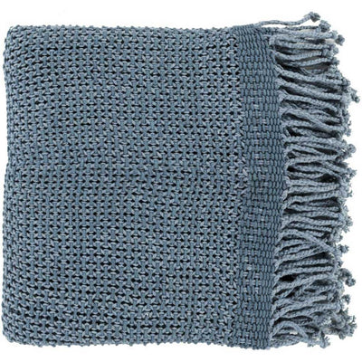 Tibey Solid Blue Throw