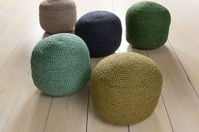 Tropics Solid Teal Cylinder Pouf