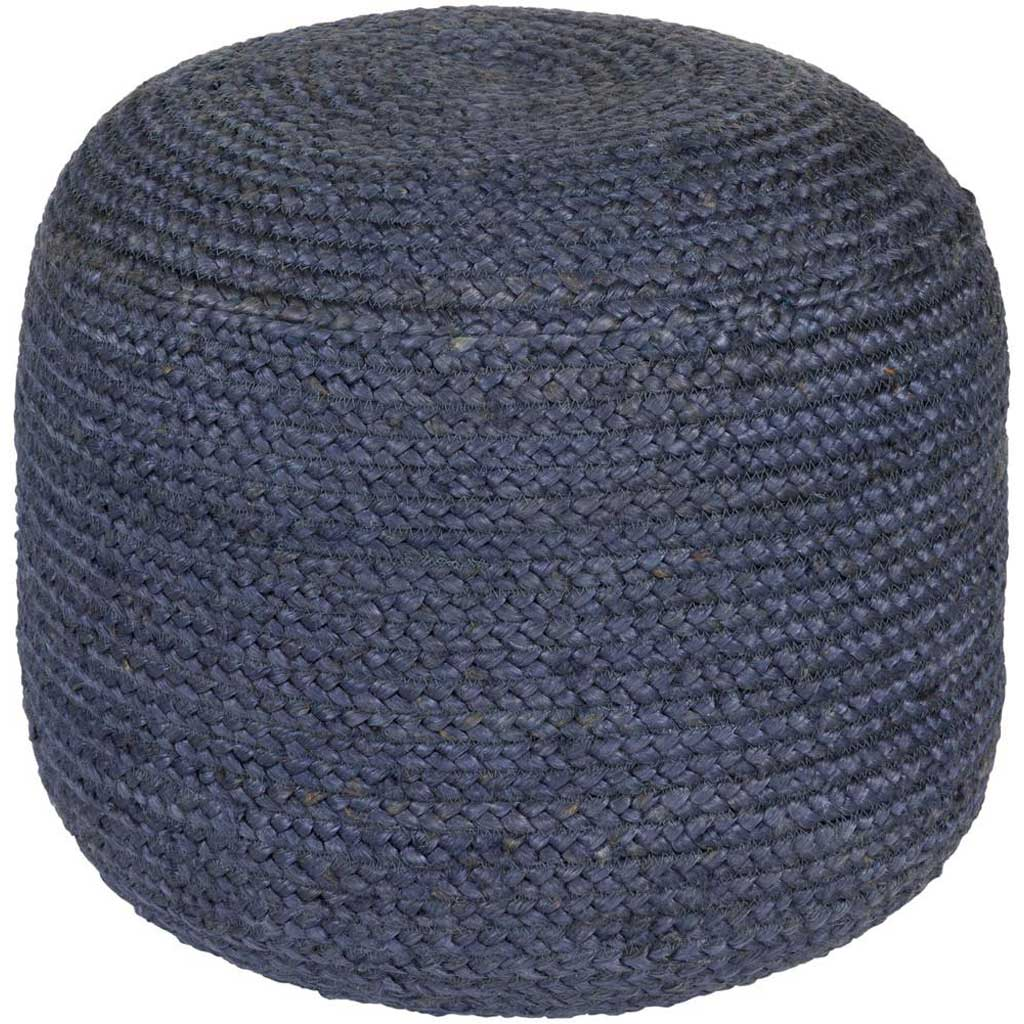Tropics Solid Navy Cylinder Pouf