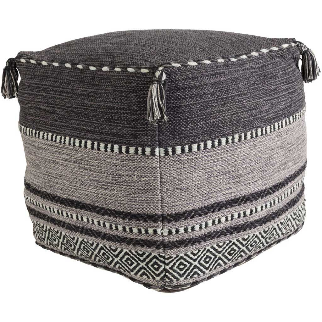 Trenza Cube Black/Charcoal/Light Gray Pouf