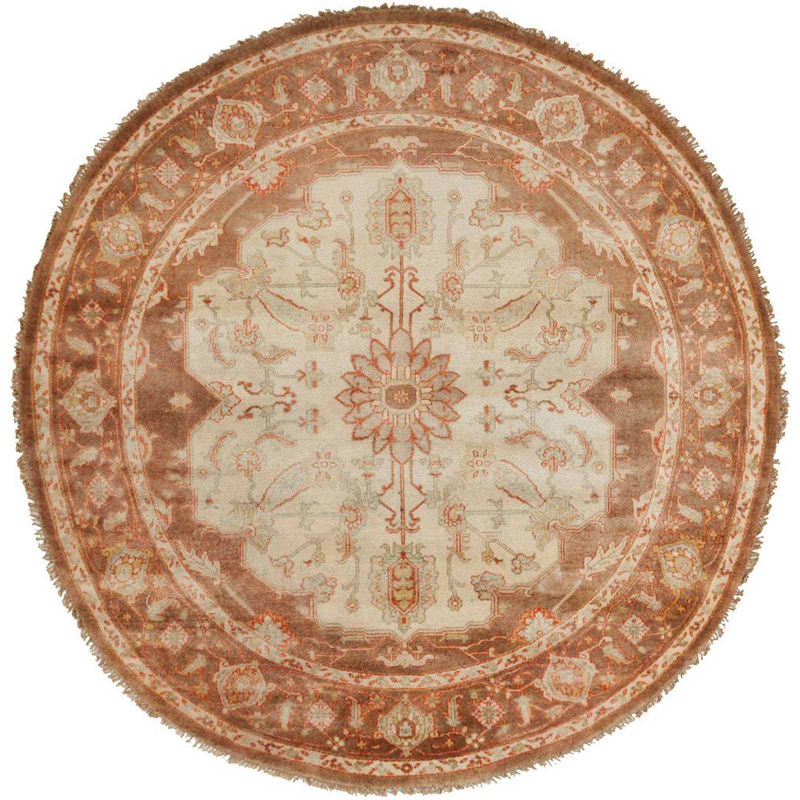 Zeus Chocolate/Rust Round Rug