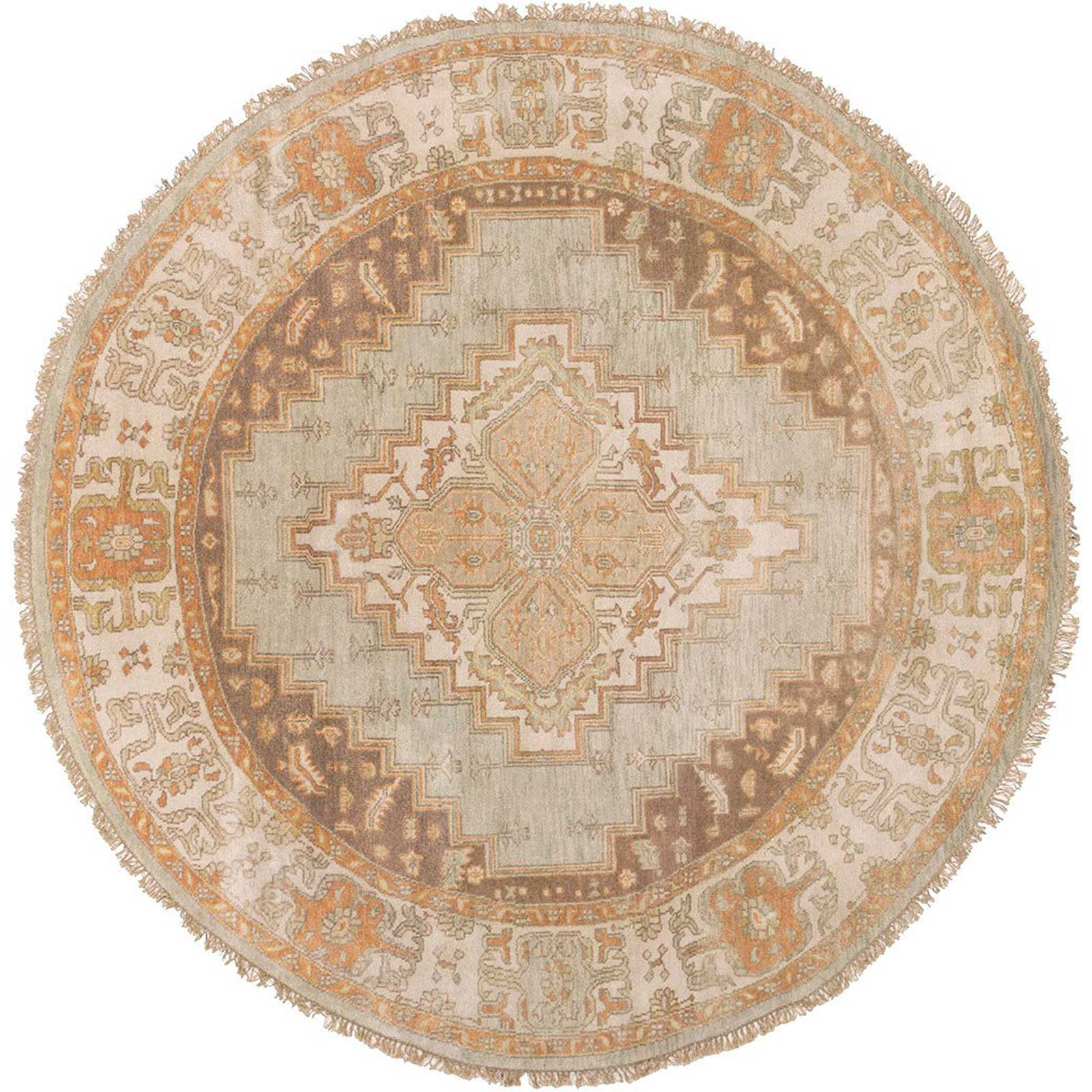 Zeus Light Gray/Chocolate Round Rug
