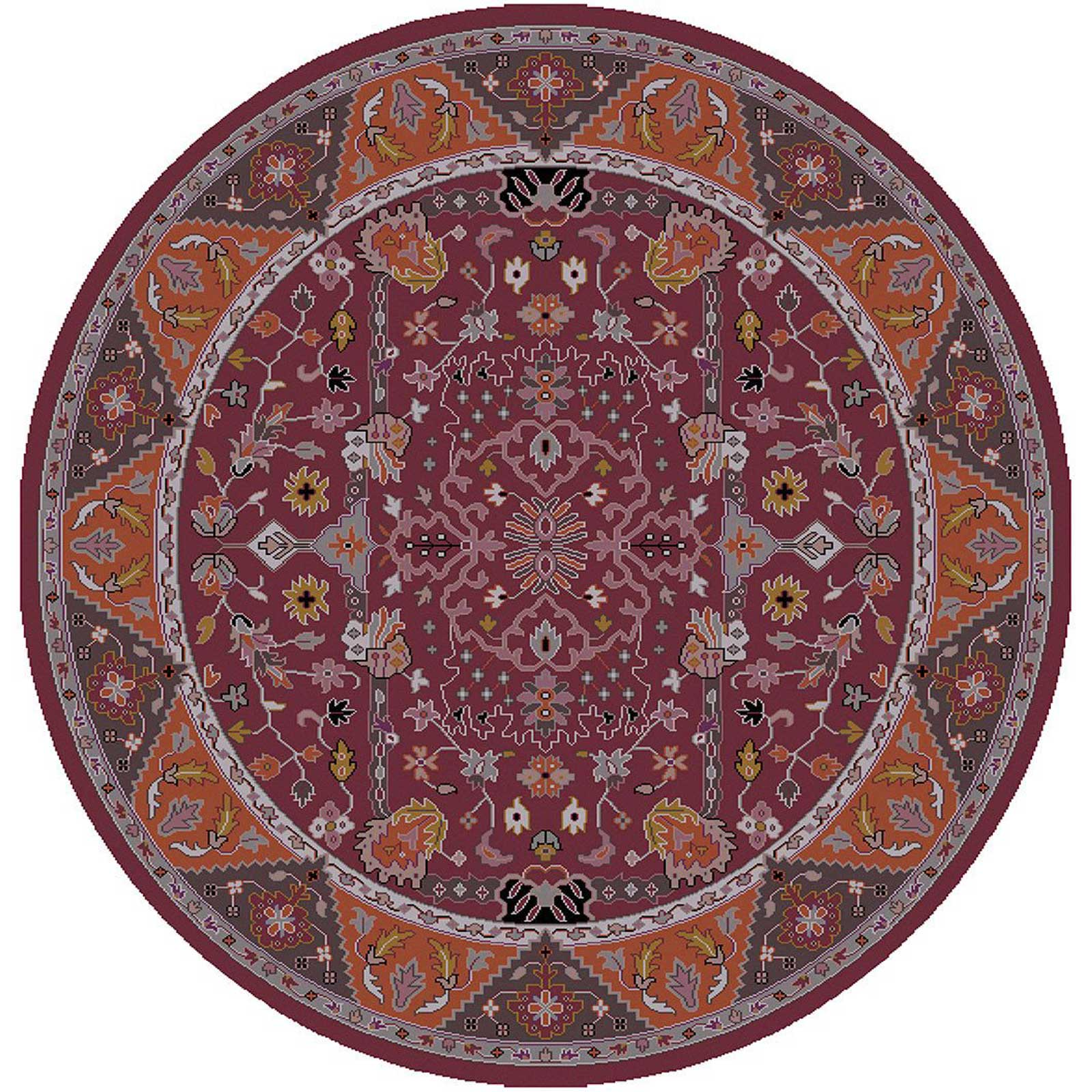 Zeus Purple/Orange Round Rug