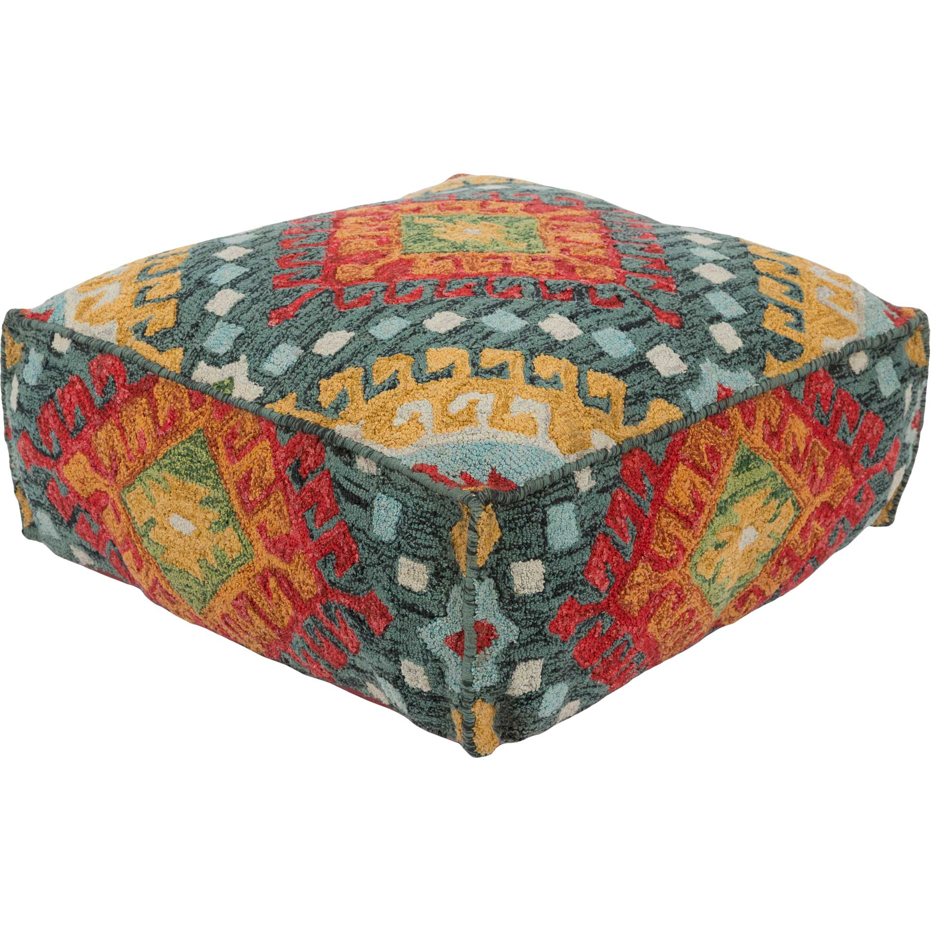 Zac Pouf Sage/Charcoal/Bright Red