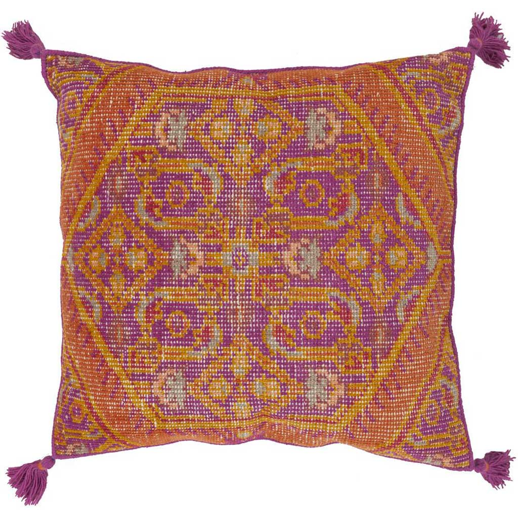Vintage Heirloom Magenta/Burnt Orange Pillow