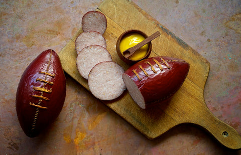 summer sausage football, american charcuterie, midwest sausage, mustard, football season, father's day