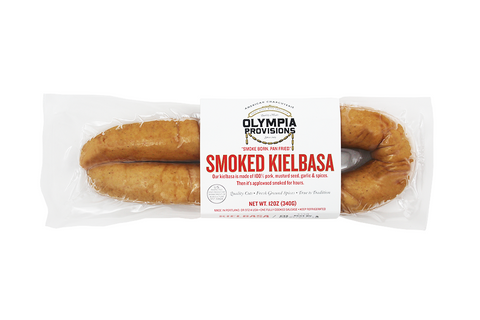 Our kielbasa is made of 100% pork, mustard seed, garlic and spices. Then it's applewood smoked for hours.