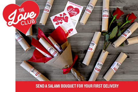 Love Club with Salami Bouquet: Gift 12 Month Salami Postal Provisions