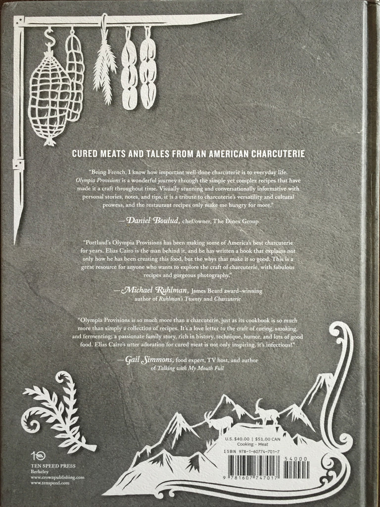 Cook Book Back Cover : Olympia provisions cookbook with a free salami