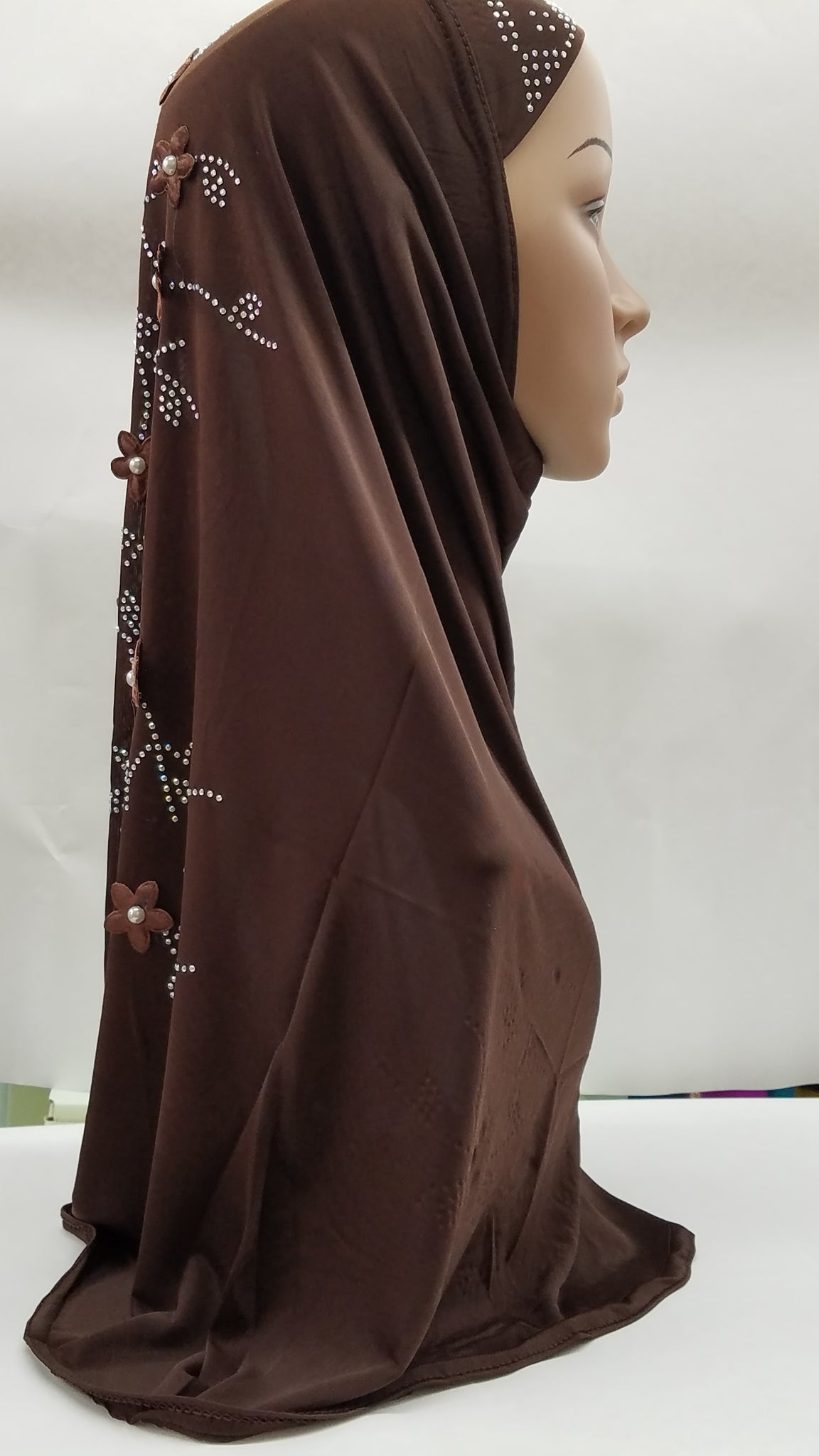 Brown Hijab with details down the back