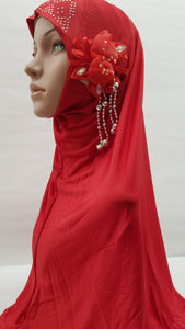 Hijab - Red with flower detailing on the side