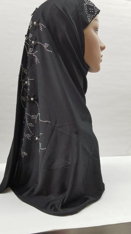 Hijab ~ Black with detailing in front and  back
