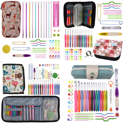 20 styles Set Crochet Hook Set DIY Weave Knitting Needles Set Knit Gauge Scissors Stitch Holder Hook Sewing Tool Accessories Set