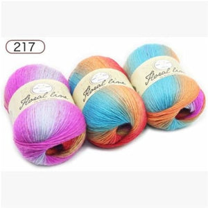 1pc 100g Section dyed wool rainbow Yarn hand knitting Crochet Thick Yarn DIY Craft Warm Scarf Sweater Cushion 360m